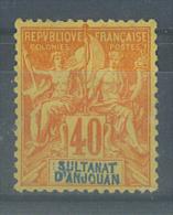 VEND TIMBRE D´ ANJOUAN N° 10 , BON CENTRAGE , DOUBLE APOSTROPHE , NEUF !!!! (a) - Anjouan (1892-1912)