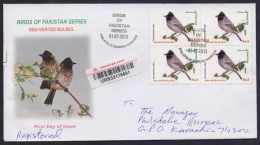 Birds Red Vented Bulbul, Postal History Cover Registered From Karachi PAKISTAN First Day 1.7.2013 - Unclassified