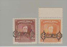 CRMi.Nr. 484-85/  COSTA RICA -  Wertaufdruck Auf Luftpostausgabe 1953 ** - Costa Rica