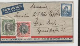 Chi164/ CHILE -  Luftpost-Überdrucke 1928 + 1931. Die Seltene Marke Zu 2 Pesos Auf Brief Nach Deutschland - Chili
