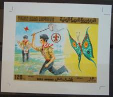 YEMEN 1980 SG 616 120f Scout & Butterfly Issue MNH DELUXE IMPERF SHEET - RARE - Yemen