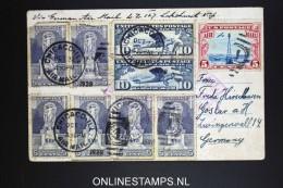 USA Zeppelin LZ127 Picture Postcard Chicago 1928 Violet Cancel On Mixed Stamps. Via Friedrichshafen To Goslar - 1c. 1918-1940 Brieven