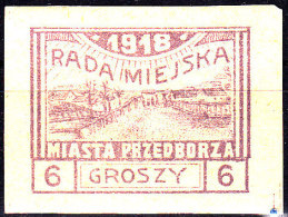 POLAND Przedborz 1918 Fi 9 T2 Mint Hinged Genuine - ....-1919 Übergangsregierung