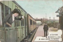 Cpa/pk 1910 Bruxelles Je Vous Envoie Le Bonjour Train Station Gare - Spoorwegen, Stations
