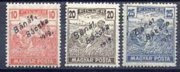BANAT BACSKA 1919 Overprint On Harvesters With Magyar Posta  LHM / *.  Michel 39-41 - Banat-Bacska