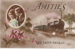 Cpa/pk Amitiés De Saint-Nicolas St Niklaas Train Loco - Sint-Niklaas