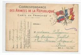 Correspondance Des Armées De La Republique Carte En Franchise Expédiée Par Un Légionnaire A  PARIS Rue Brow Sequard - Arrondissement: 15