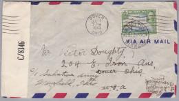 BERMUDA 1943-06-23 Hamilton Zensur Flugpost Brief Nach Dover Weitergeleitet Nach Mansfield Ohio - Bermudes