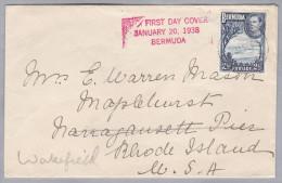 BERMUDA 1938-01-20  Erstag Brief Nach Waterfield USA - Bermudes