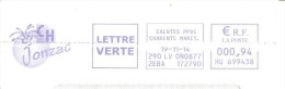 CACHET OBLITERATION FLAMME EMA SAINTES CENTRE HOSPITALIER JONZAC ENVELOPPE 22X11 - 1961-....