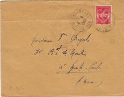 AIN -Camp De La Valbonne- 1ere Regiment Infanterie- Enveloppe - 1948 - Franchise Militaire (timbres)