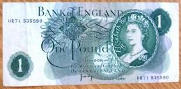 Used One Pound GB Banknote-Page No BK-972 - 1952-… : Elizabeth II