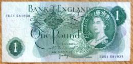 Used One Pound GB Banknote-Page No BK-974 - 1952-… : Elizabeth II