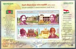 BANGLADESH * S/S 4v YEAR 2011 * VISWAKOBI RABINDRANATH TAGORE * FLAGS * MNH - Bangladesh
