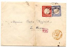 Lettre De Benfeld (12.08.1872) Pour Le Havre_PD_Ambulant Allemagne_3 Groschen - Lettres & Documents