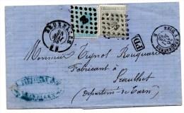 Lettre De Bruxelles (25.05.1868) Pour Graulhet _PD_ Anbulant Belg. A Erquemines - 1865-1866 Profil Gauche