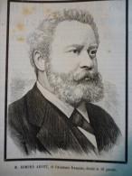Edmond About De L'académie Française Décédé Le 16 Janvier 1885 , Gravure De 1885 Avec Texte - Documents Historiques