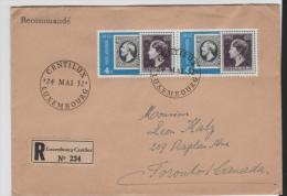 Lux139/ LUXEMBURG -  Briefmarkenjubiläum 1952. 4 Fr. Im Paar Nach Canada Mit Ersttag-Stempel - Briefe U. Dokumente