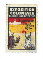 Strasbourg Vignette Exposition Coloniale Strasbourg 1924 Dromadaire Sahara Soleil   Bien Ss Gomme - Chromos