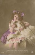 ENFANTS - LITTLE GIRL - MAEDCHEN  - DOG - Jolie Carte Fantaisie Portrait Fillette Et Chien - Cani