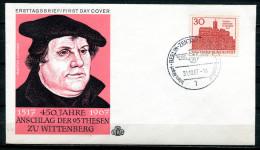"First Day Cover Germany 1967  Mi.Nr.544 Ersttagsbrief""Martin Luther-450.Jahrestag Des Thesenanschlags,Schlos... "" 1 FDC - Cristianesimo"