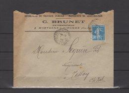 17 - Mortagne Sur Gironde - C. Brunet - Entrepreneur - 1926 - Postmark Collection (Covers)
