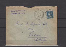 17 - Lorignac - Paul Arbitre - Cachet Octogonal - 1922 - Postmark Collection (Covers)