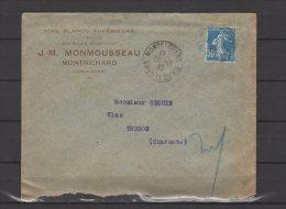 41 - Montrichard - J.M. Monmousseau - Vins Blancs Superieurs - 1925 - Postmark Collection (Covers)