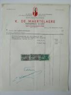 Facture Factuur 1951 De Maertelaere Kongostraat Gand Gent Taxzegels Electriciteitswerken - Belgique