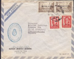 Argentina Via Aerea INSTITUTO ANTARTICO ARGENTINO, BUENOS AIRES Cover Letra To CHARLOTTENLUND Denmark 4x Oficiales - Dienstpost