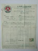 Facture L´Air Liquide Saint Lazare Paris 1931 Knocke - France