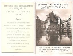Haute Savoie - 74 - Annecy - Congrés Des Pharmaciens, Laboratoires, Rhone Alpes 1956 Carte Double+ Menu - Annecy