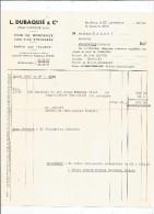 Facture , Vins De Bordeaux , Vins Fins étranger , L. DUBAQUIE & Cie , 1960 , Bordeaux - Autres
