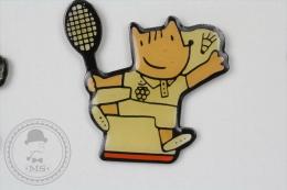 Barcelona 1992 Olympic Games - Cobi Mascot Playing Badminton - Pin Badge #PLS - Juegos Olímpicos
