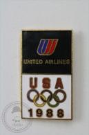 Olympic Games USA Sponsor - 1988 United Airlines Sponsor - Pin Badge #PLS - Juegos Olímpicos