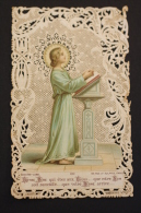 Antique Paper Lace Holy Card Baby Jesus Praying - Made By Bouasse Lebel Paris - Imágenes Religiosas