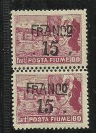FIUME 1919 SOPRASTAMPATO FRANCO OVERPRINTED 15 SU 60 CENT. VARIETA' DOPPIA DENTELLATURA NEL MEZZO VARIETY MNH - Fiume