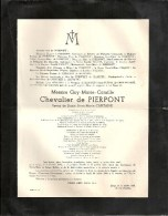 Messire Guy...Chevalier De PIERPONT époux Dame Anne-Marie CAPITAINE - Liège 1893 / 1954 - Avvisi Di Necrologio