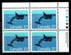 198   Killer Whale     57 Cent Definitiver  Sc 1173  UR Plate Block  MNH - Unused Stamps