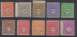 FRANCE - YT N° 702 à 711 - Double Impression - Neufs ** - MNH - Curiosidades: 1941-44  Nuevos