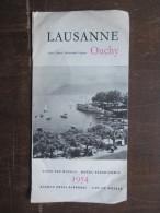 DéPLIANTS TOURISTIQUES (M1505) SUISSE - LAUSANNE / OUCHY (2 Vues) Liste Des Hôtels 1954 - Dépliants Touristiques