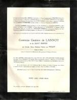 Comtesse Gustave De LANNOY Et Du SAINT-EMPIRE Née Marthe ......van PRAET - Bruxelles 1884 / 1954 - Décès
