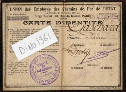VP1357 - PARIS - Carte D'identité De L' Union Des Employés Des Chemins De Fer De L' Etat - Titres De Transport
