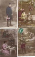 Lot De 10 Cp Militaria Fantaisie Militaire Mon Coeur Est Avec Toi Courage Chasseur Guerre 1914.18 Femme Enfant Fillette - Patriotic