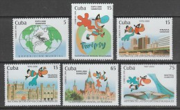 "SERIE NEUVE DE CUBA - ""EXPO 2000"", EXPOSITION UNIVERSELLE A HANOVRE N° Y&T 3828 A 3833 - 2000 – Hanover (Germany)"