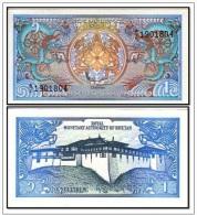 BHUTAN 1986 - 1 Ngultrum BankNote, P 12, UNC.  Perfetta - Bhutan