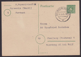 Mecklenburg Vorpommern 6 Pf GA P5 aus Schwerin nach Freiberg Korrespondenz zw. 2 Postbeamten Burmeister