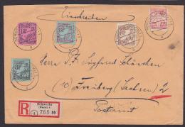 Mecklenburg Vorpommern R-Bf aus Schwerin mit Pfl�gender Bauer 4 versch. Farben nach Freiberg (Sachsen) Postamt