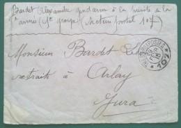 Petite Enveloppe Franchise Militaire Pour ARLAY Jura D'un GENDARME Prévôté 8e Armée 1915 Trésor Et Postes 107 - Guerre De 1914-18