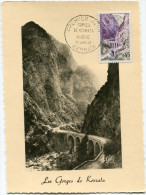 ALGERIE CARTE MAXIMUM DU N°1237 DE FRANCE 45c. GORGES DE KERRATA OBLITERATION 1er JOUR KERRATA 16 JANV. 60 - Cartes-maximum